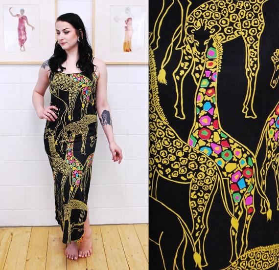 1980's LEO CHAVALIER Giraffe Print Maxi Slip Dress