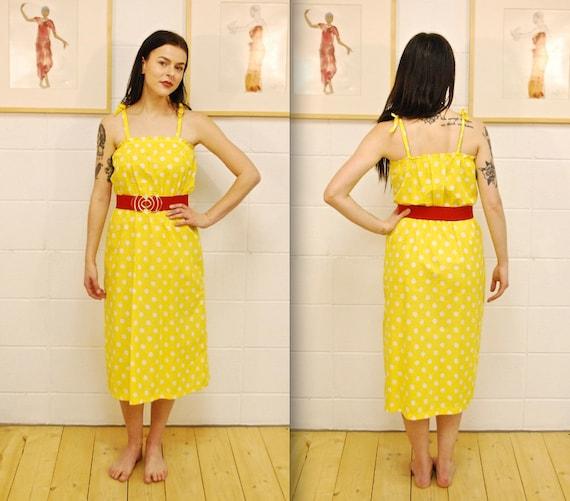 1970's Bright Yellow Polka Dot Summer Dress / Sun