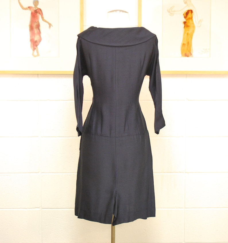 1950/'s60/'s Navy Party Dress  Sailor  Wiggle Dress  Pinup  Mad Men  Rare Collectible Retro