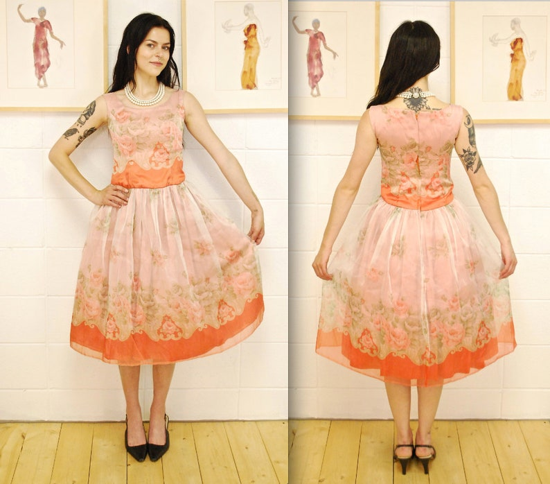 7ad2617482d 1950 s 60 s Light Coral Floral Chiffon Fit and Flare