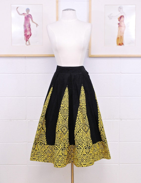 1950's/60's Black and Yellow Swing Skirt with Geom