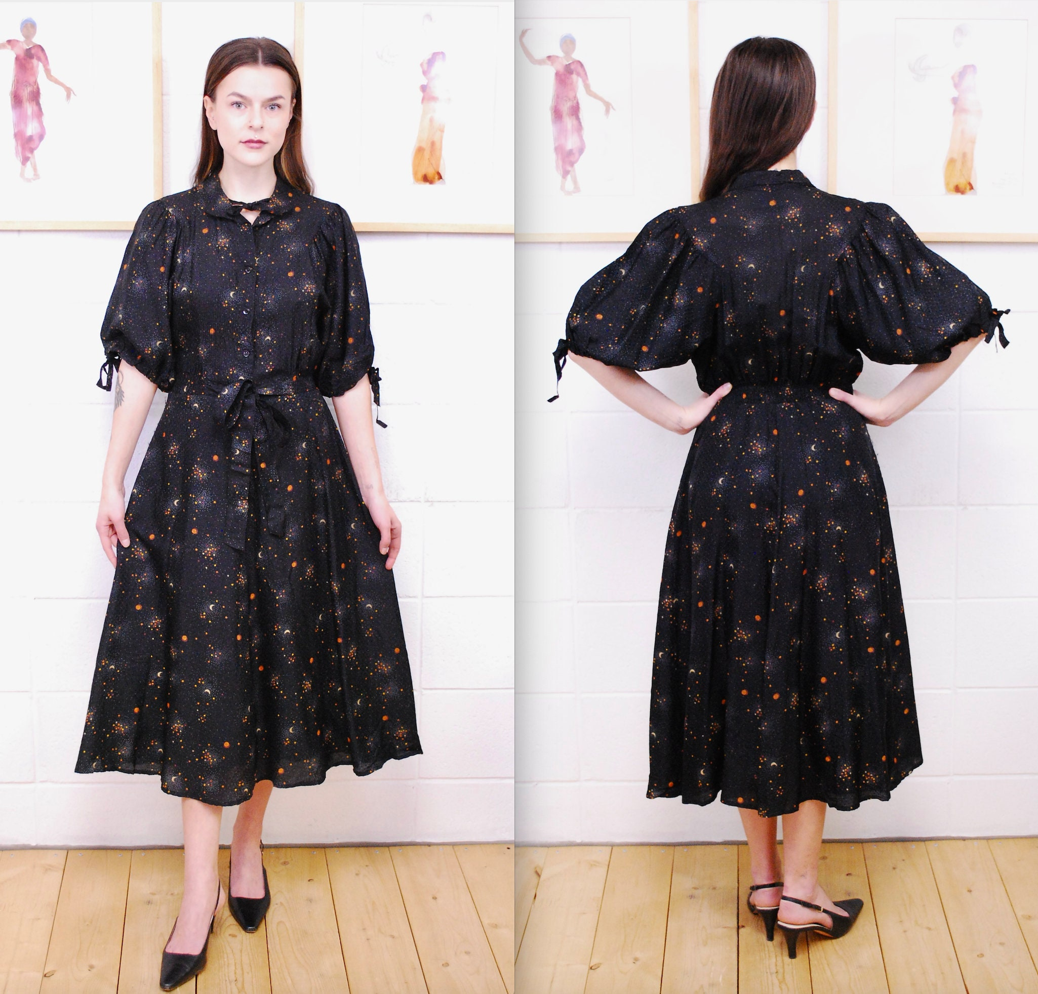 80s Dresses | Casual to Party Dresses 1980s Black Cosmic Print Dress With Super Cute Tie Collar  SleevesRare Collectable Retro Curiosity Inc $27.00 AT vintagedancer.com