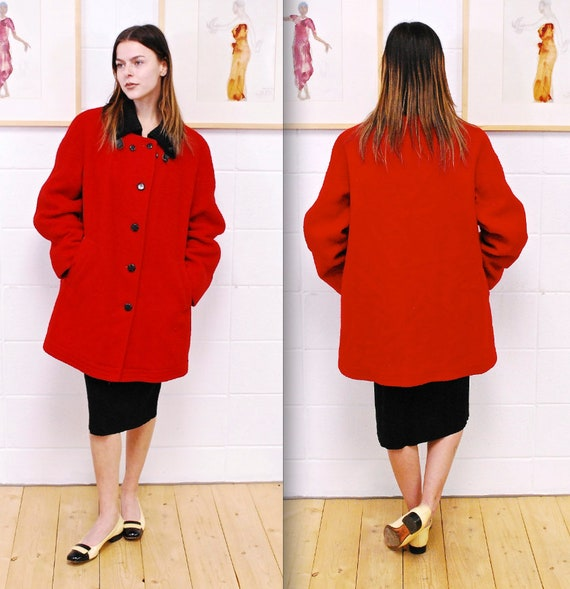 1970's/80's Red HUDSON'S BAY Blanket Coat / Hudson