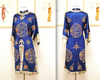 1920's/30's Royal Blue Antique Silk Chinese Hand Embroidered Robe / Asian Jacket / Rare Collectable Retro