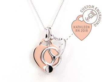 Heart & Stethoscope Necklace Nurse Gift - 14k Rose Gold Plated Silver - Nurse Graduation or Retirement Gift, Personalized Jewelry