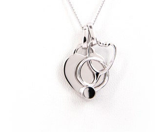 Engraved Heart and Stethoscope Necklace 925 Sterling Silver - Nurse Gift - Nurse Jewelry - Nurse Graduation Gift - RN Gift - Nurse Charm RPN