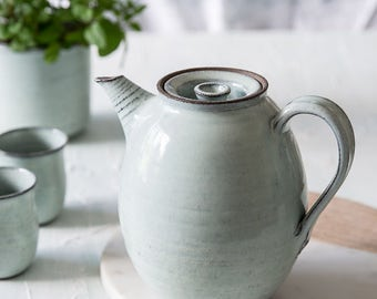 Big ceramic light blue teapot