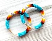 Beaded hoop earrings Native American style, Native beadwork jewelry, Blue bead hoop earrings, Big hoop earrings, Ethnic earrings, Stud hoops