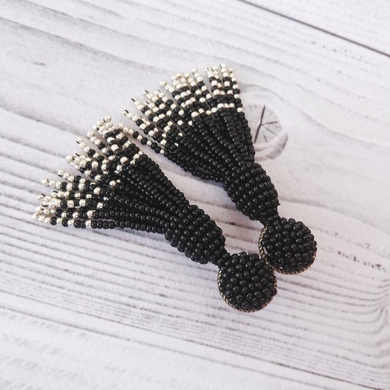Black seed bead earrings Oscar de la Renta Black and Silver tassel earrings Long short stud Black tassle earrings Beaded tassel earrings