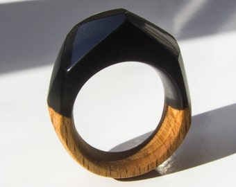 black resin ring, black ring, resin ring, wooden ring, epoxy resin, woman ring, womens wood ring, wood resin jewelry, ring, wood ring women