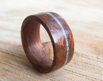 Wood ring, Bentwood ring, ring women, redwood, gift for her, Handmade jewelry, gift, Womens wood ring, ring inlay steel shavings, Bentwood