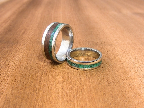 lapis lazuli ring intaly wood engagement ring wood ring malachite ring inlay redwood sterling silver ring unisex ring bentwood ring