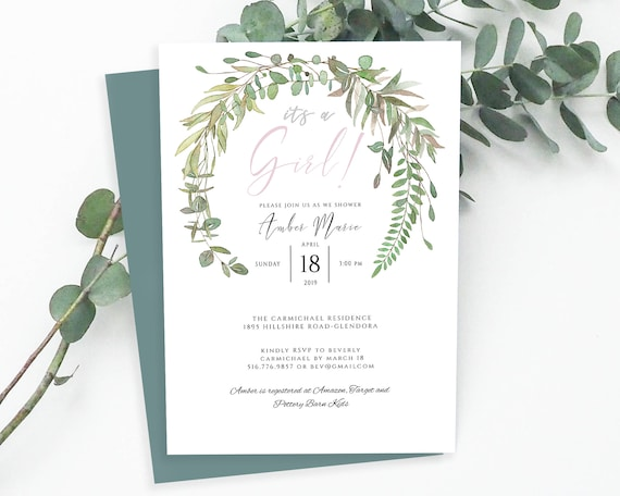 It S A Girl Baby Shower Invitation Template Baby Shower Invitation Card Editable Eucalyptus Bohemian Instant Download