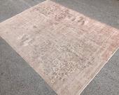 8 3 x11 2 ft oversize distressed rug, Oushak rug, large Oushak rug, vintage Turkish rug, home decor rug, oriental rug, muted Persian rug