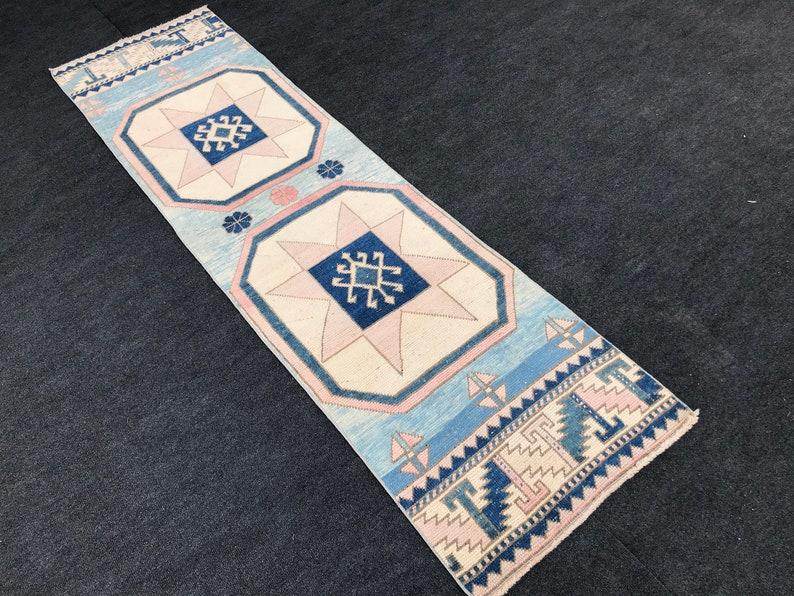 Free Shipping Blue rug 2.1x7.9 Ft/ Turkish Oushak RugHome image 0