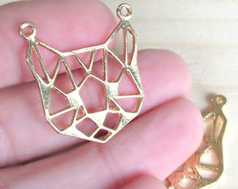 GC1236 2 Origami Cat Connector Charms Gold Tone
