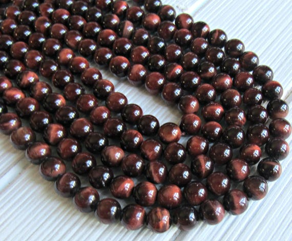 """MAHOGANY RED TIGER EYE GEMSTONE FACETED ROUND 10MM LOOSE BEADS 7.8/"""""""