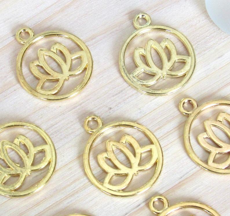 Lotus Charms Set Of 5 Gold Lotus Coin Lotus Charm Lotus Pendant Lotus Flower Flower Charm Open Lotus Yoga Charm Mala Pendant