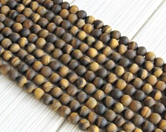 8mm matte Tiger eye beads, full strand, A quality, brown tiger eye, frosted tiger eye, tiger eye beads 8mm, beads for malas, bracelet beads
