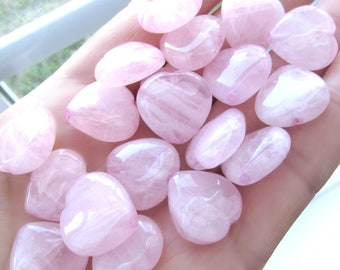 Rose quartz Hearts 16mm, set of 5, large heart stones, pink beads, pink heart beads, heart pendants, quartz pendants, beads, 16mm beads