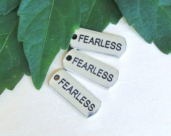 Fearless tag charm, set of 10, Tag charm, Inspirational charms, fearless Pendant, silver message charms, rectangle charms, Message pendants