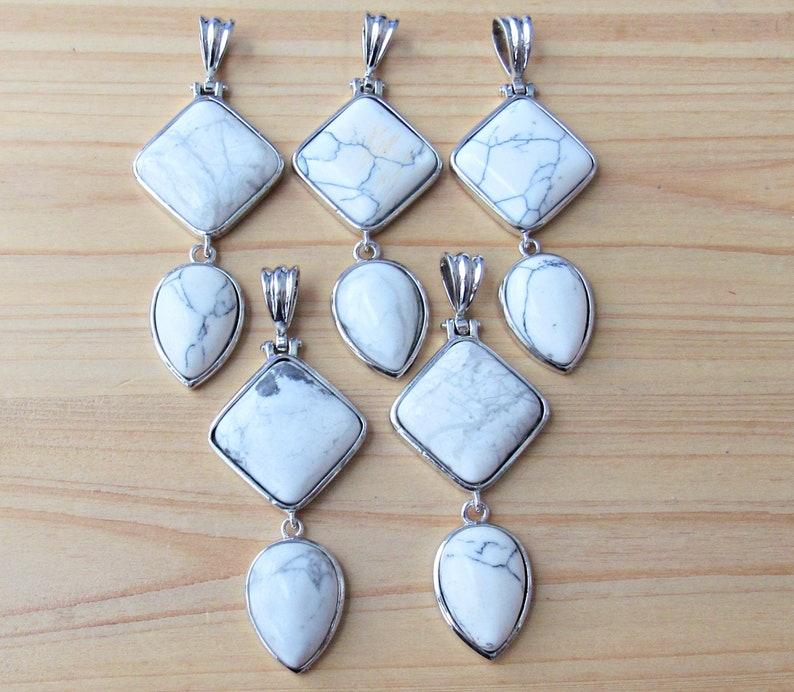 jewelry supplies howlite pendant yoga pendant geometric pendant howlite point pendant long pendant Mala howlite double pendant