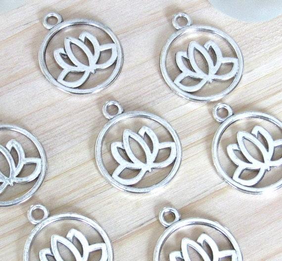 Lotus Charms Set Of 5 Silver Lotus Coin Lotus Charm Lotus Pendant Lotus Flower Flower Charm Open Lotus Yoga Charm Mala Pendant