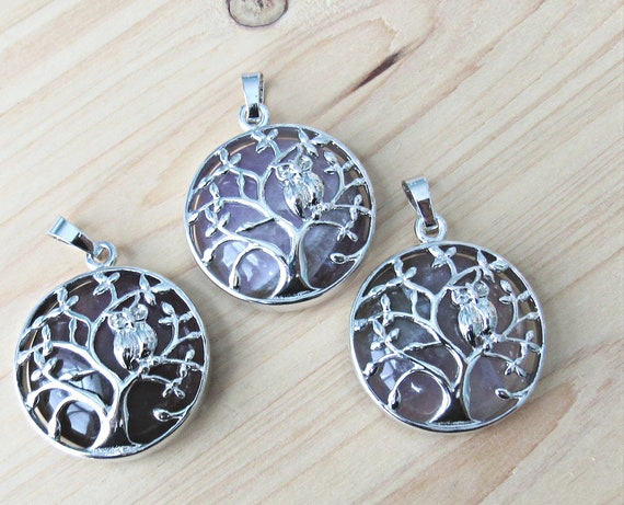 rock and silver jewelry supplies 30mm pendant coin large charm Quartz nature Tree of life pendant with owl and gemstone mala pendant