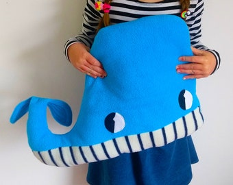 Fleece Whale Cushion in Turquoise