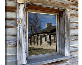 Western Decor Canvas Print, Old West Homestead Cabin Window, Oregon Trail Wyoming Wall Art, Rustic Home Gifts