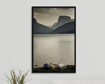 Lake Summer Storm 20x30 Framed Canvas Wall Art, Mountain Decor Print Photo, Wyoming Photography