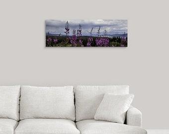 Fireweed 12x36 Metal Wall Art, Mountain Decor Aluminum Print, Wyoming Wildflower Panoramic Art, Photo Gift for Mom