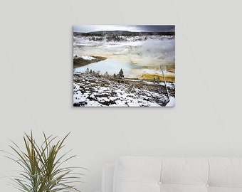 Yellowstone Winter Photo 16x20 Metal Print, National Park Photography Art, Hot Springs Winter Wonderland, Wyoming Home Decor Wall Art Gifts