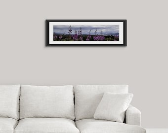 Wildflower 12x36 Framed Wall Art, Mountain Photography Print, Wyoming Gifts, Entryway Decor, Fireweed Flower