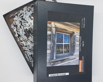 Old West Cabin Puzzle, Fort Caspar Window Reflection Photo, Wyoming Isolation Gift