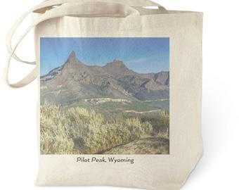 Montana Mountain Cotton Canvas Tote Bag, Wyoming Photo Art Gift, Eco Friendly Farmers Market Bag