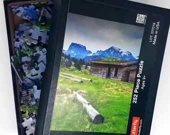 Wyoming Homestead Cabin Photo Puzzle, Wind River Range Gift for History Lover, Mountain Home Photography Jigsaw Puzzle