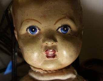 Antique sackbody doll with composition head curiosity collectable spirit vessel