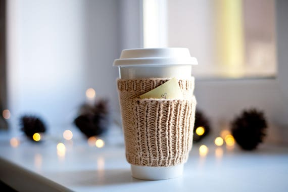 knit starbucks cup coffee sleeve with pocket cabled coffee cup etsy