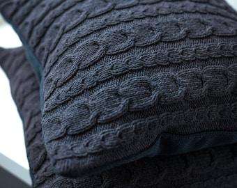 Cable knit pillow cover. Decorative pillow 45x45. Knit home décor. White  knit pillow