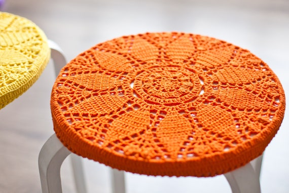 Kitchen seat covers IKEA stool Knit home décor Round cotton Crochet chair  pads Knitted Cover_MORE COLORS