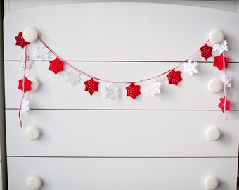 Fireplace decoration Christmas decorations Christmas Garland snowflakes Snowflakes Winter Wedding Decorations wedding garland