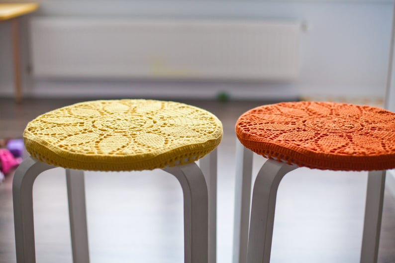 Kitchen Seat Covers Ikea Stool Knit Home Decor Round Cotton Crochet Chair Pads Knitted Cover More Colors