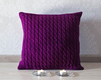 Knit cushion. Cable knit pillow cover. Decorative pillow 45x45. Knit home décor. Deep purple knit pillow.