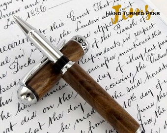 Walnut Wood Roller Ball pen with Chrome plating - A Unique Wooden Pen -  1532