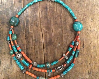 Necklace with old blood corals and turquoise combined with old beads from Afghanistan and India.