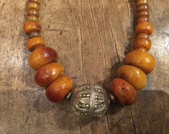 Unique necklace amber color with old Yemen bead