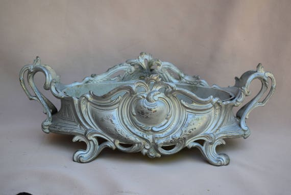 French Antique Large Grey Patina Centerpiece Jardiniere Gustavian Style Interior Design Indoor Table Commode Cache Pot Country Cottage