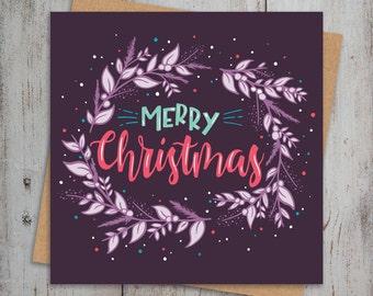 Christmas Greetings Card Square Merry Christmas Xmas Card Pack Wreath Christmas Card