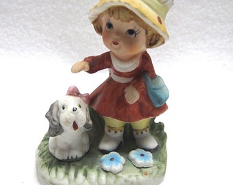 HOMCO - Girl Petting Dog/Puppy Figurine # 1430-V